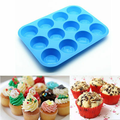 Muffin Cup 12 Cavity Silicone Cupcake Chocolate Cookie Baking Pan Tray Mold New