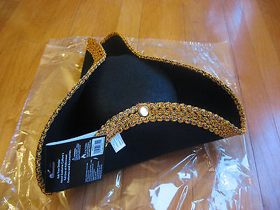 Colonial or Pirate Costume Hat Tricorn Deluxe Black