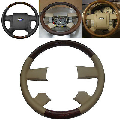 Tan Leather Wood Steering Wheel Cover Cap for 2004-2008 Ford F150 FX4 SuperCrew