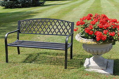 Warwick Metal Garden Bench with Web Pattern Cast Iron Back