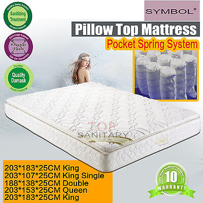 Bedroom Pillow Top Mattress Bonnell Spring Single Double Queen King Size Bedding