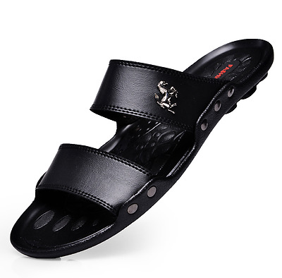 New Summer Mens Beach Outdoor Casual Leather Sandals Shoes Anti-slip Slippers