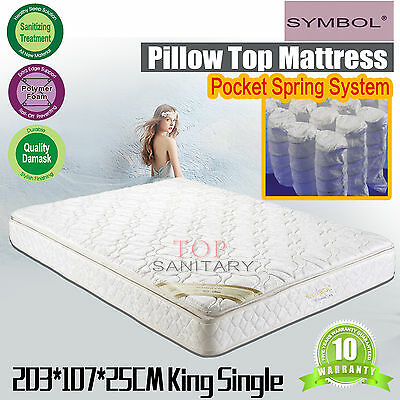 King Single Size Pillow Top Mattress Bonnell Spring System Beddings 25 Thickness