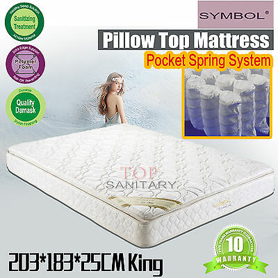 Pillow Top Mattresses 25cm THICKNESS Bedding Tempered Bonnell Spring King Size