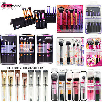 REAL TECHNIQUES Makeup Brushes,Bold Metal ,Starter Kit Sculpting Powder Set Kit