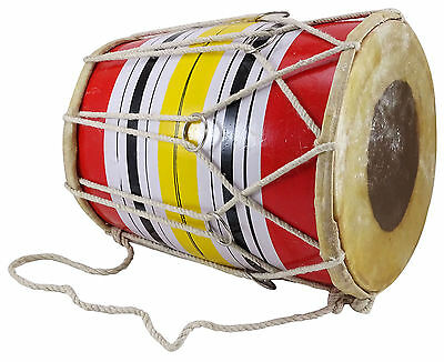 Decorative Handmade Indian Wooden Multi-Color Mini Dholak For Kids - 7.5 Inches