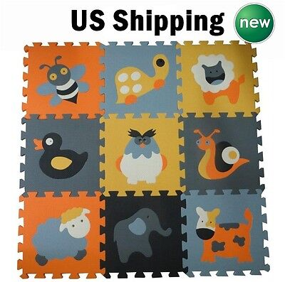 Foam Play Mat Activity Floor Soft Crawl Pad Tile Toddler Safety Puzzle Animal US