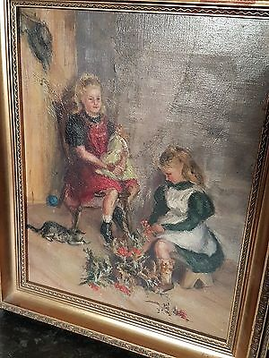 "Vintage Framed Oil on Canvas Painting 17"" x 14"""