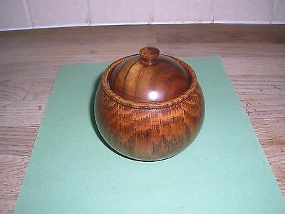 Antique/ Vintage Turned Oak Wood Pot And Lid Good Condition  3.5 Inches High