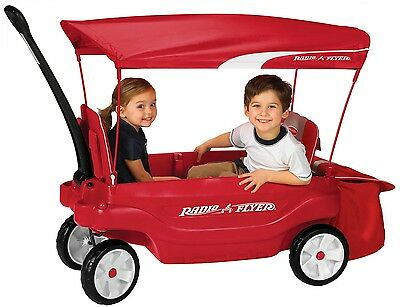 Canopy Wagon Ride-on Storage Kids Pull Cart Toy Outdoor Seat Red Toddler Play