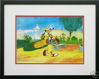 Disney Framed Animation Cel Goofy Golf sports art free backround Walt Disney COA