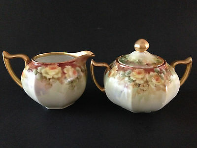 Antique Z.S.& C. Bavaria Creamer and Sugar Hand Painted Yellow Roses Heavy Gold