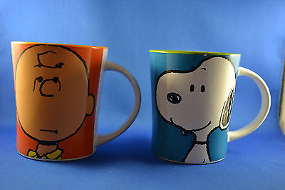PEANUTS Charlie Brown + Snoopy Cartoon Coffee Mugs 15oz NEW Set of 2 By Gibson