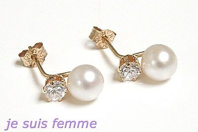 Boucles d'oreilles Or Jaune MASSIF  Diamant CZ & Perle Culture (f301) 8K