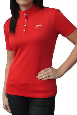 John Whitaker Signature Performance Polo Diamante Buttons in Red Size: Small