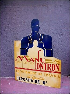Rare ART DECO tin die cut flange Sign French vintage workwear Work Clothing