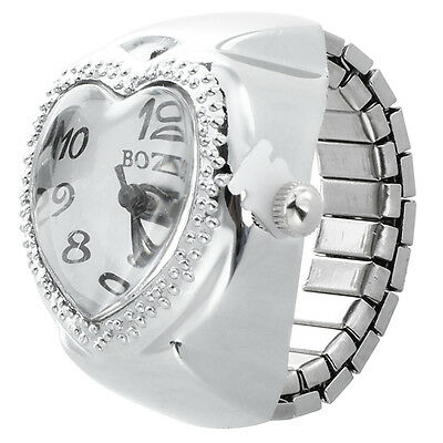 Silver Tone Quartz Heart Pocket Finger Ring Watch Q4Y1