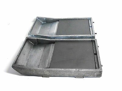 Two Aluminum Open Ink Trays for Industrial Pad Printing w/Rubber Pad Steel Plate