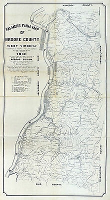 1912 Farm Line Map of Brooke County West Virginia Showing Oil & Gas Wells Coal