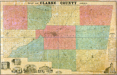 1859 Farm Line Map of Clark County Ohio LARGE 40 x 62