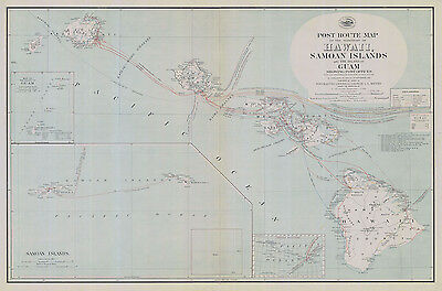 1908 Map of Hawaii Samoan Islands and Island of Guam