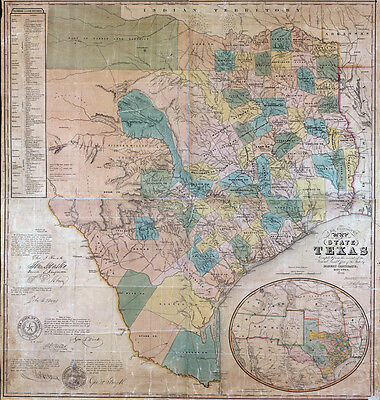 1853 Map of the State of Texas LARGE 40 x 42