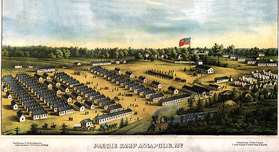 1864 Aerial Map of Cival War Parole Camp Annapolis Maryland