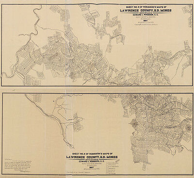 1897 Map of Lawrence County South Dakota Mines