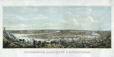 1871 Panoramic View of Pittsburgh Allegheny County Pennsylvania