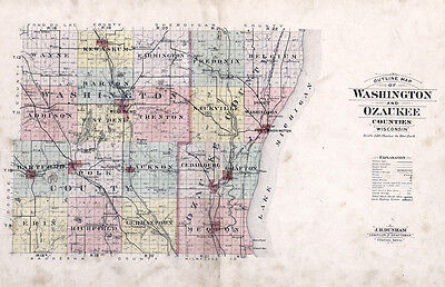 1915 Map of Washington & Ozaukee County Wisconsin