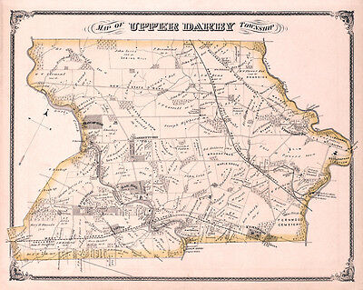 1875 Map of Upper Darby Township Delaware County Pennsylvania