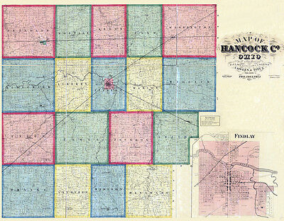 1863 Farm Line Map of Hancock County Ohio Findlay LARGE 40 x 50