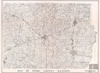 1908 Farm Line Map of Perry County Illinois