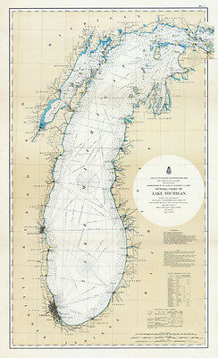 1898 Nautical Map of Lake Michigan