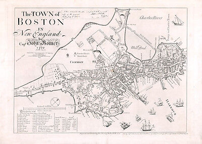 1722 Map of Boston in New England