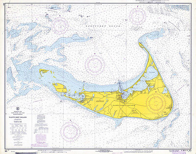 1968 Nautical Chart Map of Nantucket Island