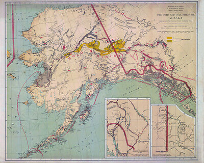 1898 Map of Alaska Gold and Coal Fields