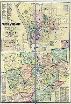 1877 Map of Montgomery County Tennessee Clarksville