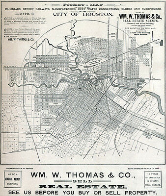 1890 Map of Houston Texas