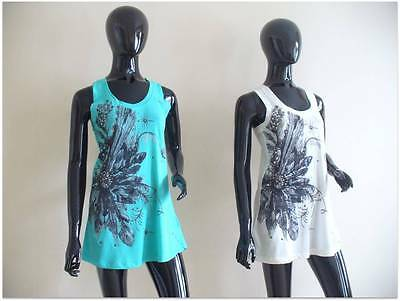 Wholesale Retail Joblot 4 Cotton Ladies Embellished Tshirt Top Vest, Turquoise