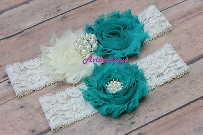 Teal wedding garter for bride plus size belt bridal prom weddingday US seller