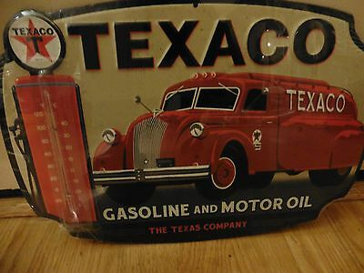 Texaco Thermometer Vintage Style Tanker Truck Metal Sign