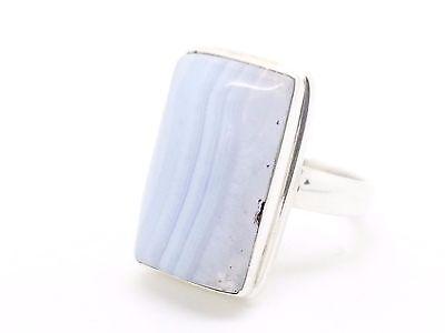 Blue Lace Agate & 925 Sterling Silver Statement Ring (+ Gift Bag) Uk Size O