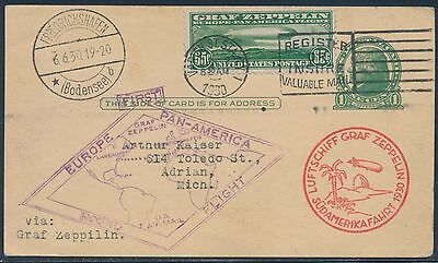 #c13 On Zeppelin 1St Round The World Flt Cover Usa To Spain To Germany Bt7264