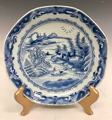"Antique Chinese Asian 8.5"" Plate Porcelain Blue White Plate 19th C Kangxi"