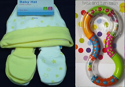 Baby Hat and 2 Pairs Scratch Mitts + Rattle 100% Cotton Newborn Baby Shower Gift