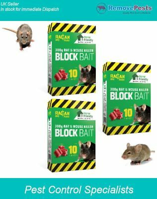 Rat and Mouse Killer poison bait blocks kills rodents fast HSE Approved x 3 box
