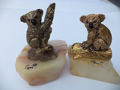 Lot Set Of 2 Ron Lee Bronze Koalas On Branch W/ Quartz Base Figurine Sculpture