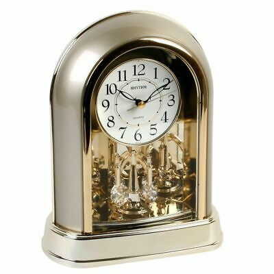 Quartz Anniversary Mantel Desk Clock Gold Gilt with Rotating Crystal Pendulum