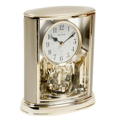 Two Tone Gold Gilt Table Mantel Anniversary Clock w Rotating Swarovski Pendulum